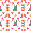 Seamless pattern with crown, heart, boots, dress, flowers. Royalty Free Stock Photo