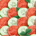 Seamless pattern of cucumbers and tomatoes Royalty Free Stock Photo
