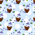 Seamless pattern with cupcake and blueberries. Royalty Free Stock Photo