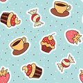 Seamless pattern cupcake, coffee, strawberry.