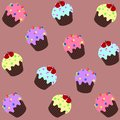 Vector seamless background with various cupcakes on a brown background.