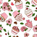 Seamless pattern of cupcakes and flowers abstract cartoon Stock Photo