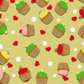 Seamless pattern with cupcakes and hearts vector Stock Photo