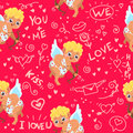 Seamless Pattern with Cupid and hand drawn elements