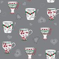 Seamless pattern with cups Royalty Free Stock Image