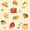 Seamless pattern with cups and cakes stripy background Stock Photos