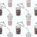 Seamless pattern with cups of cocoa for takeaway and rain