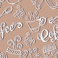 Seamless pattern with cups of coffee vector decorative Stock Photo