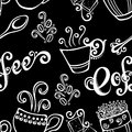 Seamless pattern with cups of coffee vector decorative Royalty Free Stock Photos