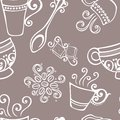 Seamless pattern with cups of coffee vector decorative Stock Image
