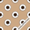 Seamless pattern with cups of hot strong coffee