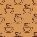 Seamless pattern of cups of steaming coffee or tea on a brown background vector doodle sketch Royalty Free Stock Photos