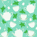 Seamless pattern with cups and teapots and mint