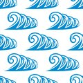 Seamless pattern of curling blue ocean waves Royalty Free Stock Images