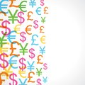 Seamless pattern of currency signs background Royalty Free Stock Photo
