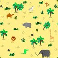 Seamless pattern with cute african animals and tropical plants.