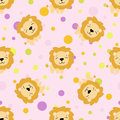 Seamless pattern with cute african lion
