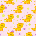 Seamless pattern with cute african tiger