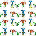 Seamless pattern with cute aliens kids doodle sketch Stock Images