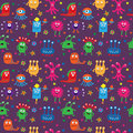 Seamless pattern with cute aliens on a violet background