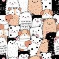 Seamless pattern cute animal cartoon