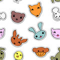 Seamless pattern cute animal faces Royalty Free Stock Image