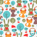 Seamless pattern with cute animals funny Stock Photos