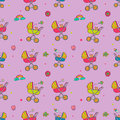 Seamless pattern with cute baby carriages.