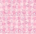 Seamless pattern - Cute baby pink items Stock Photography