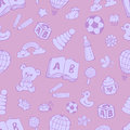 Seamless pattern with cute baby toys.