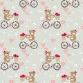 Seamless pattern of cute bear ride a bike in Valentine background
