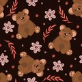 Seamless pattern with cute bears on black