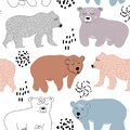 Seamless pattern with cute bears. vector illustration for fabric,textile,nursery decoration