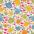 Seamless pattern with cute birds and hearts vector texture funny characters Royalty Free Stock Photos