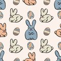 Seamless pattern with cute bunnies and Easter eggs. Easter background. Vector EPS10