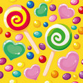 Seamless pattern cute candies Royalty Free Stock Images