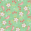 Seamless pattern cute cartoon butterfly and berries hand drawn background Stock Image