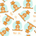 Seamless pattern with cute cartoon cat in yoga pose