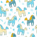 Seamless pattern with cute cartoon horses and flowers.