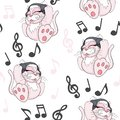 Seamless pattern with cute cartoon kitten with headphones on white background