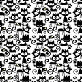 Seamless pattern with cute cartoon kittens funny Royalty Free Stock Image