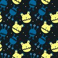 Seamless pattern with cute cartoon monster and stars and moon. Modern flat design.