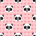 Seamless pattern with cute cartoon panda and heart on pink background