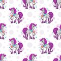 Seamless pattern with cute cartoon pretty fantasy unicorn