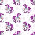 Seamless pattern with cute cartoon pretty fantasy unicorn