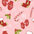Seamless pattern with cute cartoon red stocking Royalty Free Stock Photography