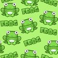Seamless pattern Cute cartoon square frog on green background