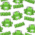 Seamless pattern Cute cartoon square green frog on white background