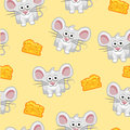 Seamless pattern Cute cartoon square grey mouse and cheese