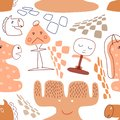Seamless pattern with cute chess pieces.